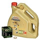 Castrol 10W-40 Öl + HiFlo Ölfilter für Honda XL 1000 V Varadero, 99-02, SD01 SD02 - Ölwechselset inkl. Motoröl, Filter, Dichtring
