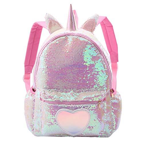 Rosa Mädchen Pailletten Rucksack für Kinder Critter Bling Schultasche Travel Cute Back Pack mit gepolstertem Rücken und verstellbaren Trägern Lässiger Daypack Magic Reversible Paillette