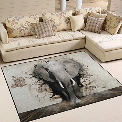 Use7 3D Ziegelmauer Elefanten-Teppich für Wohnzimmer, Schlafzimmer, 203 cm x 147,3 cm