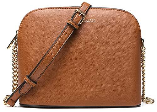 Foobrues Damen Kleine Umhängetasche - Citytasche Schultertasche Handtasche - Kette Schulterriemen Crossbody Bag - Saffiano Leder Feste Schultertasche - Reißverschluss Handtasche-Braun