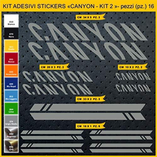 Pimastickerslab Aufkleber Fahrrad Canyon -KIT 2- Kit Aufkleber Stickers 16 Stück – bici Bike Cycle wählbar Cod.0949 (074 Grigio Medio)