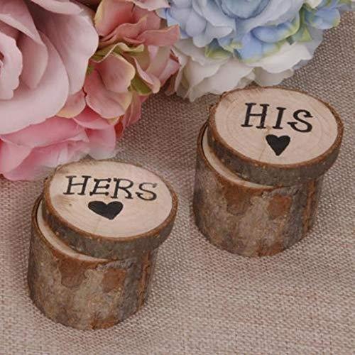 Ringkissen Ringdose Hochzeit, CHshe 1 Paar Vintage Stil Ehering Kissenbox Runde Hochzeitsdeko Dekor Holz Ring Box Holz-Etui Eheringe Verlobungsring Display Für Engagement Wedding