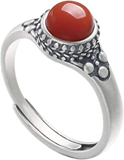 LOVECOM 100% Real 925 Sterling Silver Ring Southern Red Agate Open Rings Wedding Bands For Women Lady Gifts Fashion Retro ...