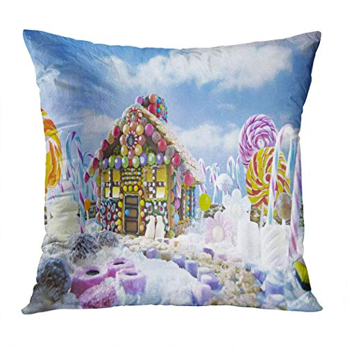 sherry-shop Kissenbezug Quadrat 20 x 20 Zoll Weihnachtshaus Lebkuchen Landschaft umgeben Super Soft dekorative Kissenbezug Kissenbezug