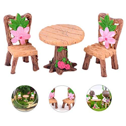 Phononey Miniatur Landschaft Ornament Simulation Runder Tisch Stuhlp mit Blume Mini Retro Kunstharz Geschenk kreatives für Puppenhaus Dollhaus Topfpflanzen Dekoration Nette Werkzeug 1 Set