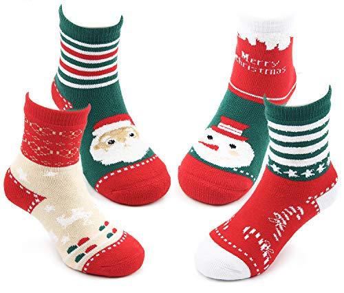 Toddler Boys Girls Christmas Socks Kids Warm Socks Winter Thermal Cotton Crew Socks 4 Pack 2t