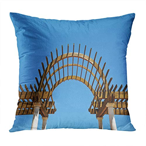Llsty Throw Pillow Cover Polyester Print Pergola Wood Outdoors Blue Seamless Soft Square for Couch Sofa Bedroom Pillowcase Home Cushion Case 18 x 18 Inch