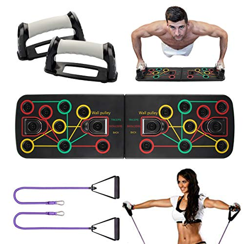 NOBRANDED 14 en 1 Push Up Rack Board, Flexiones Plegable Push Up Tabla Board con Bandas de Resistencia, Gimnasio Equipo de Entrenamiento System para Ejercicio Musculación Fitness
