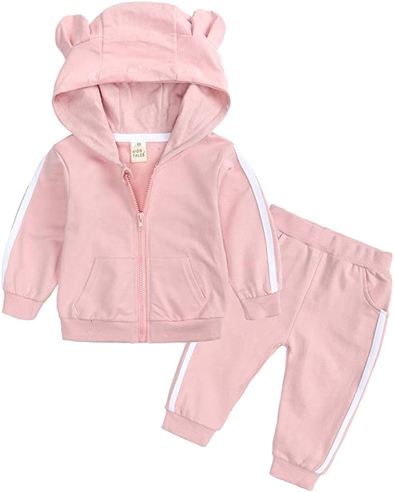 Kids Tales Baby Girls 2Pcs Outfit Set Infant Flower Hoodie+Floral Pants Tracksuit