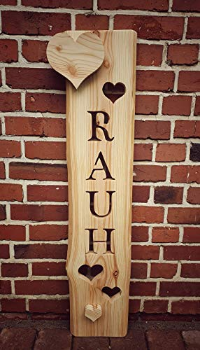 Holzbrett mit Namen + Herzen, Namensschild Haustür, Türschild, kreatives Geschenk Hochzeit Holz, Holzstele, Willkommensschild Haustür