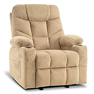 Mcombo Manual Glider Rocker Recliner Chair with Cup Holders for Nursery, USB Ports, 2 Side & Front Pockets, Plush Fabric 8002 (Beige Fabric)