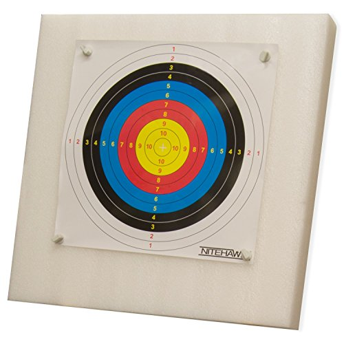 Nitehawk 60x60cm Archery Self Healing Foam Target Board + 20 Paper Faces