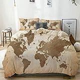 Juego de funda nórdica beige, ilustración de los continentes de la tierra Arreglo de estilo vintage con efecto Ombre, juego de cama decorativo de 3 piezas con 2 fundas de almohada Easy Care Anti-Alérg