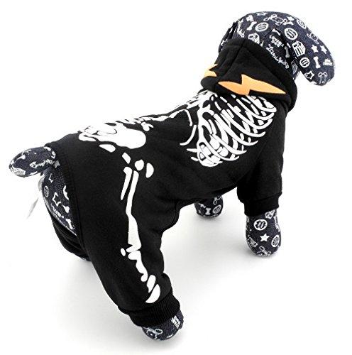 Pegasus Pet Ropa para Cachorro Perro Pequeño gato Noctilucent Esqueleto hooide Chaqueta Jumpsuit disfraz ropa