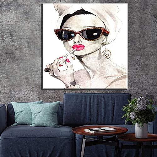 zzlzjjModerne mode zwart-wit poster Nordic rook meisje poster en print muur foto huis en badkamer decoratie55x75cm