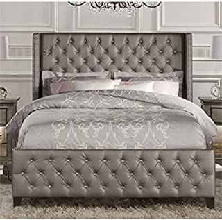 Atlin Designs Faux Leather Upholstered Queen Panel Bed in Gray