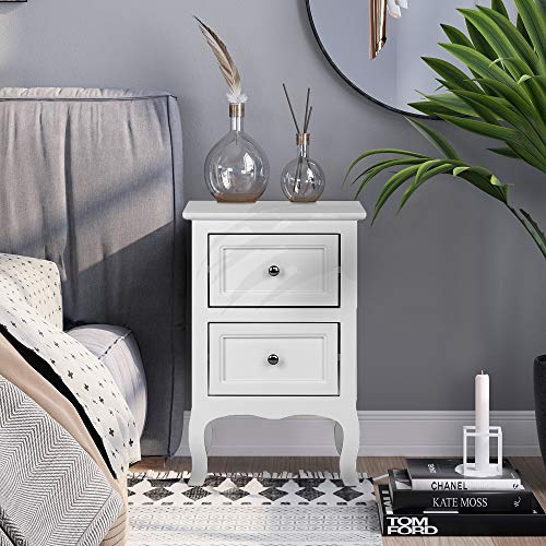 Bonnlo White Nightstand End Side Table Bedside Table with 2 Drawers for Bedroom, Living Room