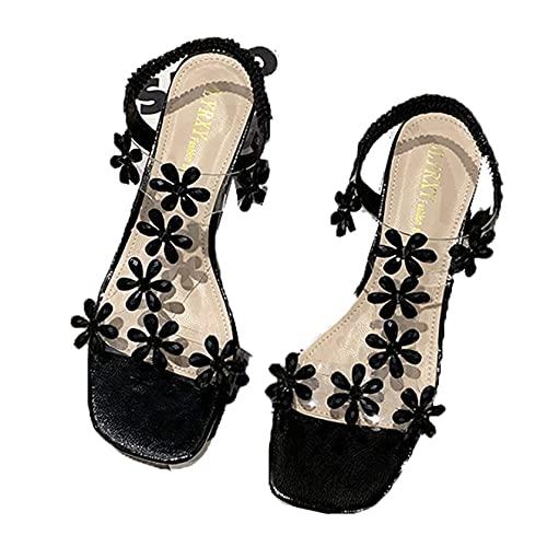 Sandalias de gladiador para mujer, sandalias romanas con flores transparentes, tacón en bloque, punta abierta, punta cuadrada, elegantes, cómodas, sandalias informales con banda elástica