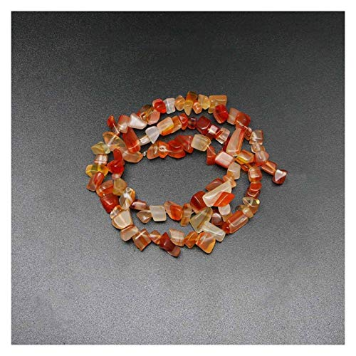WEIGENG Cuentas de piedra natural chips de 5 a 8 mm, ágata Turquolse Strand 40,6 cm Lrregular Gravel Bead Suministros de pulsera (color ágata de rayas rojas)