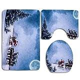 Navidad Motivo navideño 3pcs / Set Baño Antideslizante Alfombra de Pedestal única + Tapa Tapa del Inodoro + Alfombrilla de baño, Accesorios de baño