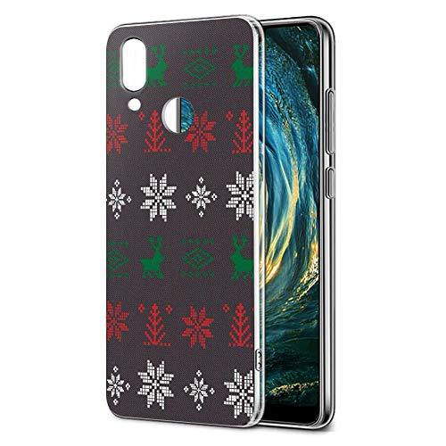 Cover Huawei P20 Lite, Eouine Custodia Cover Trasparente con Natale Disegni Ultra Slim TPU Silicone Morbido Antiurto 3D Cartoon Bumper Case per Huawei P20 Lite Smartphone (Marrone)
