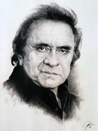 Johnny Cash Sketch Portrait, Charcoal Graphite Pencil Drawing Poster - 11' x 14' Print (WU180)