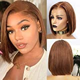 Ombre Lace Front Wigs Human Hair Pre Plucked Straight Hair Wigs For Black Women 13X4 Middles Part Short Straight Bob Wig 150% Honey Blonde #30 Unprocessed Brazilian Virgin Human Hair Wigs 8 Inch