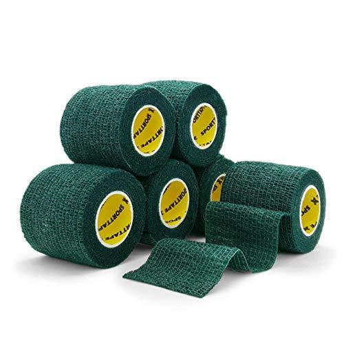6 Rollen SPORTTAPE Kohäsives Sockenband, Schienbeinschutzband, Halteband - 5 cm x 4,5 m - GRÜN - Kompressionsverband, selbstklebender Verband Vet Wrap