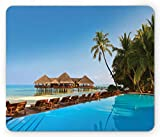 Seaside Mouse Pad, Pool on Tropical Maldives Island Bungalows Palm Trees Poolside Picture, Standard Size Rectangle Non-Slip Rubber Mousepad, Blue Green and Brown