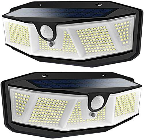 Luce Solare Led Esterno - 308 LED Faretti Solari a Led da Esterno con Sensore di Movimento Lampada da Esterno 3 Modalità Luci Solari Esterno Impermeabile IP65 per Giardino Parete