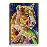 LGWG DIY Craft Needle Ricamo Fermo Hook Kit Gancio di Chiusura Tappeto Crochet for La Decorazione Domestica Carpet Ricamo Kit per Fabbricare Tappeti A Punto Croce,Tiger,78 * 56cm/30 * 22 in