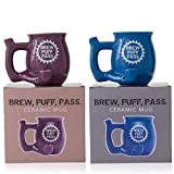 Bundle of Blue and Purple Brew, Puff, Pass Novelty Coffee Mug with Colorful Custom Packaging