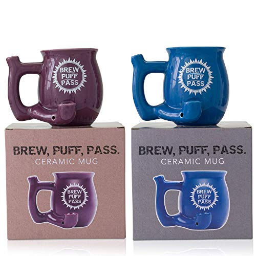 Bundle of Blue and Purple Brew Puff Pass Novelty Coffee Mug with Colorful Custom Packaging