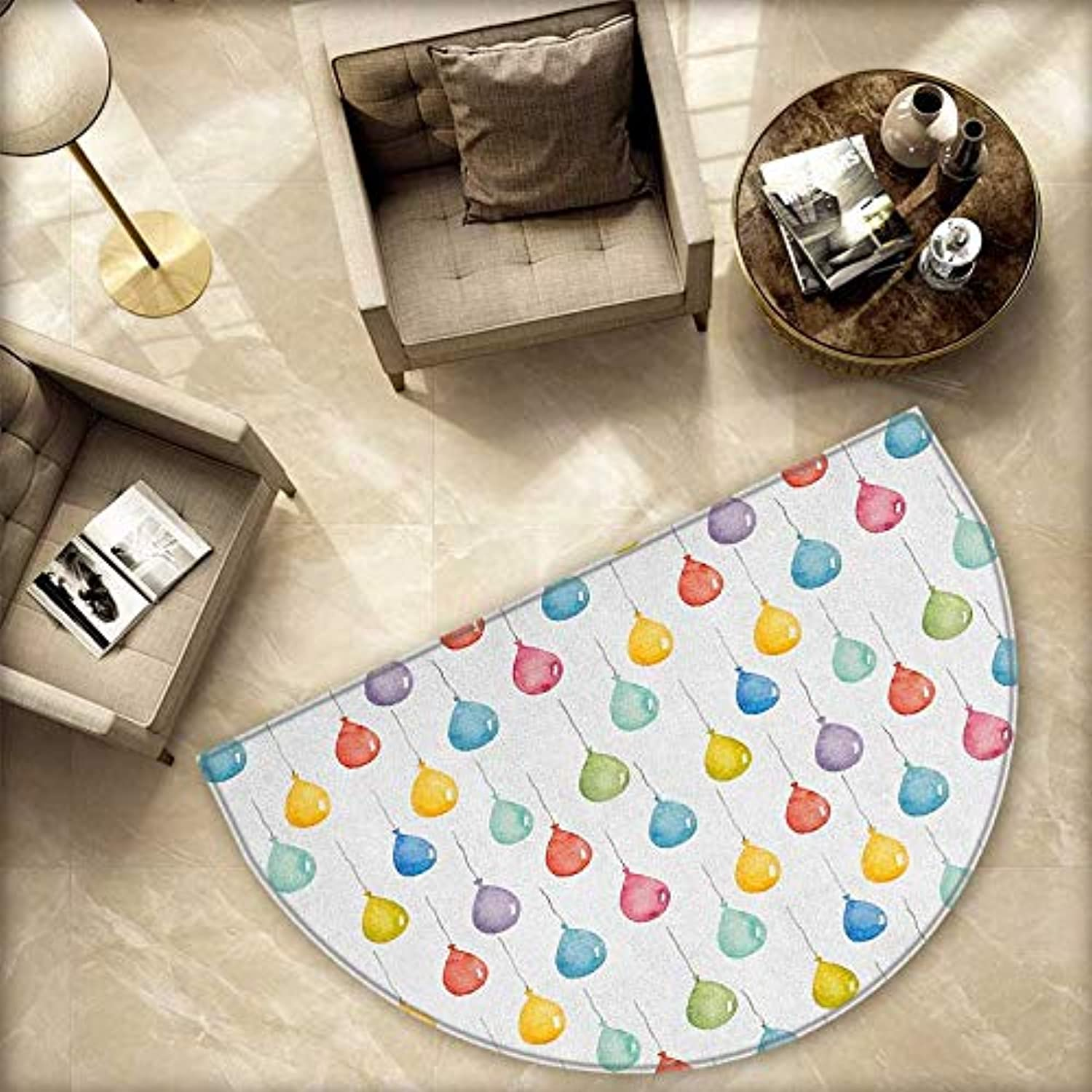 Kids Semicircle Doormat Festival Entertainment Carnival Theme Flying Balloons Watercolors Celebration Surprise Halfmoon doormats H 78.7  xD 118.1  Multicolor