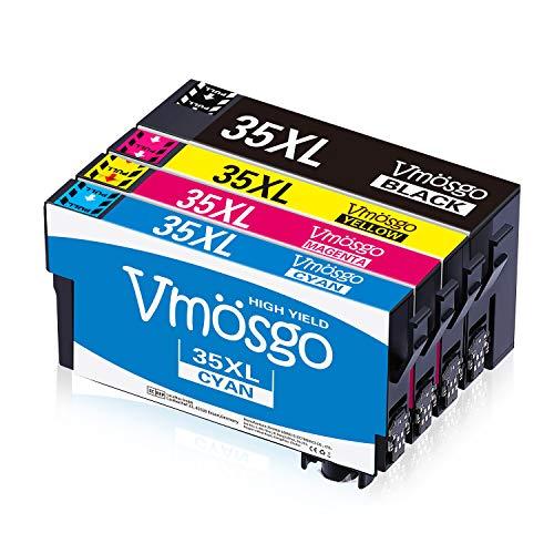 Vmosgo 35XL Sostituzione per Epson 35 Cartucce d'inchiostro, Compatibile con Epson WorkForce Pro WF-4740DTWF WF-4720DWF WF-4725DWF WF-4730DTW WF-4740 WF-4720 WF-4725 (Nero, Ciano, Magenta, Giallo)