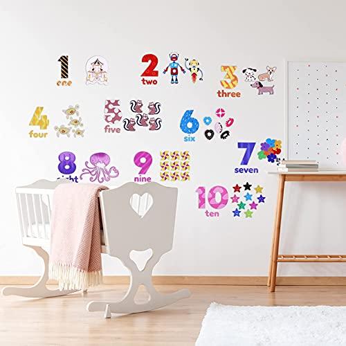 OOTSR 1-10 Números Pegatinas de Pared, Adhesivos de Pared con Números de Niños Vinilos de Pared Decorativos Infantiles Habitación Guardería Bebés Dormitorios Adhesivos Pared Educativas