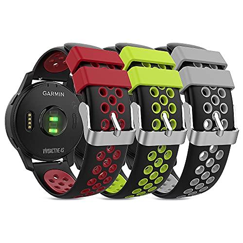 TUSITA Liberación Rápida Correa 18mm [3-Piezas] Compatible con Garmin Venu 2S, Vivoactive 4S, Vivomove 3S, Ticwatch C2, Fossil Gen 4 - Banda de Silicona de Repuesto - Relojes Inteligentes Accesorios