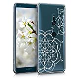 kwmobile Hülle kompatibel mit Sony Xperia XZ3 - Handyhülle - Handy Hülle Blumen Zwillinge Weiß Transparent