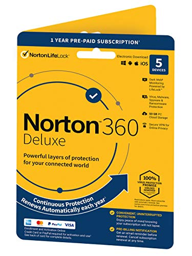 Norton 360 Deluxe 2021, Antivirus software for 5 Devices and 1-year subscription with automatic renewal, Includes Secure VPN and Password Manager, PC/Mac/iOS/Android, Activation Code by Post