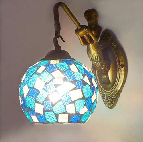 RZM Sculpture Decorative Holder Lights Handmade Glass Mosaic Lamp Shade E27 Turkish Moroccan Bohemian Style Wall Sconces Lighting Fixture (Color : Blue Color)