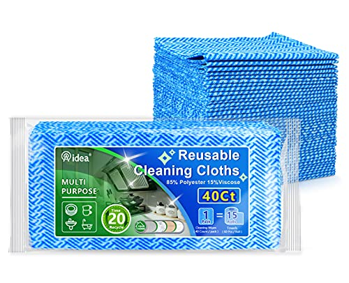 AIDEA Cleaning Wipes-40Ct(1 Pack), Multi-Purpose Towel Reusable Cleaning Cloths, Domestic Cleaning Wipes, Cleaning Towels, Dish Cloths(12''x24'')