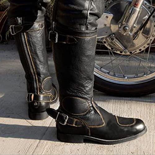 UUK Botas Medievales De Cuero PU Zapatos De Fondo Plano Gótico Retro Knight Warrior con Cremallera Zapatos De Bota De Eje Largo para Hombres para Cosplay,34