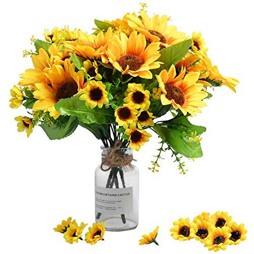4 Paquetes de Ramo de Girasol Artificial 4 racimos de Girasoles de Seda Flores Amarillas Falsas para la decoración del hogar decoración de la Boda