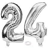 SNOWZAN Ballon d'anniversaire 24 ans en forme de chiffre 24 - Argenté - Pour fille et garçon - Avec chiffres géants - 24 ans - Taille XXL - 24 ans - Happy Birthday 82 cm - Grand chiffre 24 - Pour fête