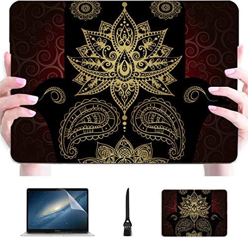 Case Macbook Pro 15 Golden Symbols Buddhism Mandala Henna Hamsa Plastic Hard Shell Compatible Mac Air 13' Pro 13'/16' 13 In Laptop Case Protective Cover For Macbook 2016-2020 Version
