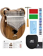 Aklot Kalimba 17 Keys Duim Piano Effen Hout Marimbas Vinger Piano Start Kits Afrikaanse Instrument voor Kinderen Volwassen met Beschermende Case Tuning Hammer Studie Boekje