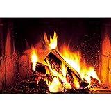 CSFOTO 1,5x1m Hogar Fondo Llameante Bosque Incendio Leñas Fotografía Fondo Flameante Fuego Barbacoas Partido Navidad Decoración Foto Puesto Apuntalar