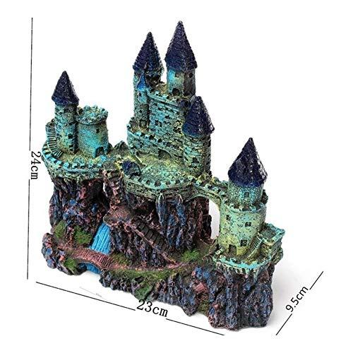 Hermoso 24cm acuario Castillo artificial pescados de la decoración del tanque antigua torre del castillo de ornamento Paisaje de la roca de la cueva for los pescados de ocultación de camarón Alta cali