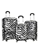Rockland Safari Hardside Spinner Wheel Luggage, Zebra, 3-Piece Set (20/24/28)