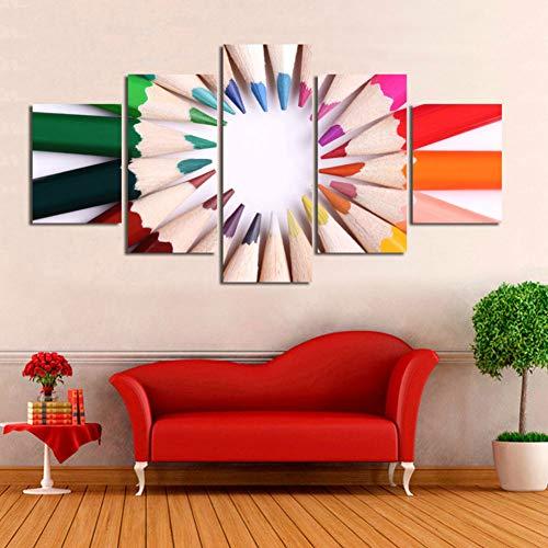 LPHMMD 5 canvas schilderijen Canvas HD Prints Home Decor Schilderij Studio Achtergrond 5 Stuks Kleur Potloden Muur Kunst Afbeeldingen Kunstwerk Poster